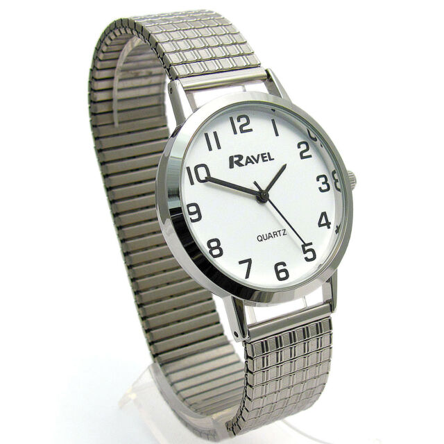 Ravel Men's Super-Clear Quartz Watch with Expanding Bracelet sil #23 R0201.01.1s
