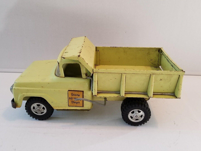 1958 Tonka State Hi-Way Dept verde Lima Volquete Clean Original