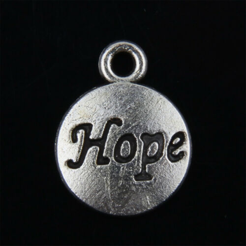 """50pcs Tibetan Silver /""""Hope"""" Charms Pendants for Jewelry Making 15mm ABF113"""