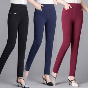 Women-High-Waist-Casual-Skinny-Leggings-Pants-Stretch-Slim-Office-Pencil-Trouser