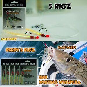 5x-Whiting-Whispera-Rigs-Fishing-Premade-Bass-Yabby-worm-Size-4-Hook