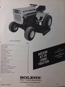 Bolens FMC Husky HT-20 Lawn Garden Tractor Owners Manual 2086 Large Frame  19.9hp | eBayeBay