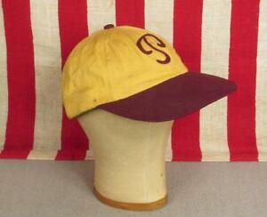 fab531e82 Vintage 1950s Baseball Cap 'P' Chain Stitch Letter Gold/Burgundy ...