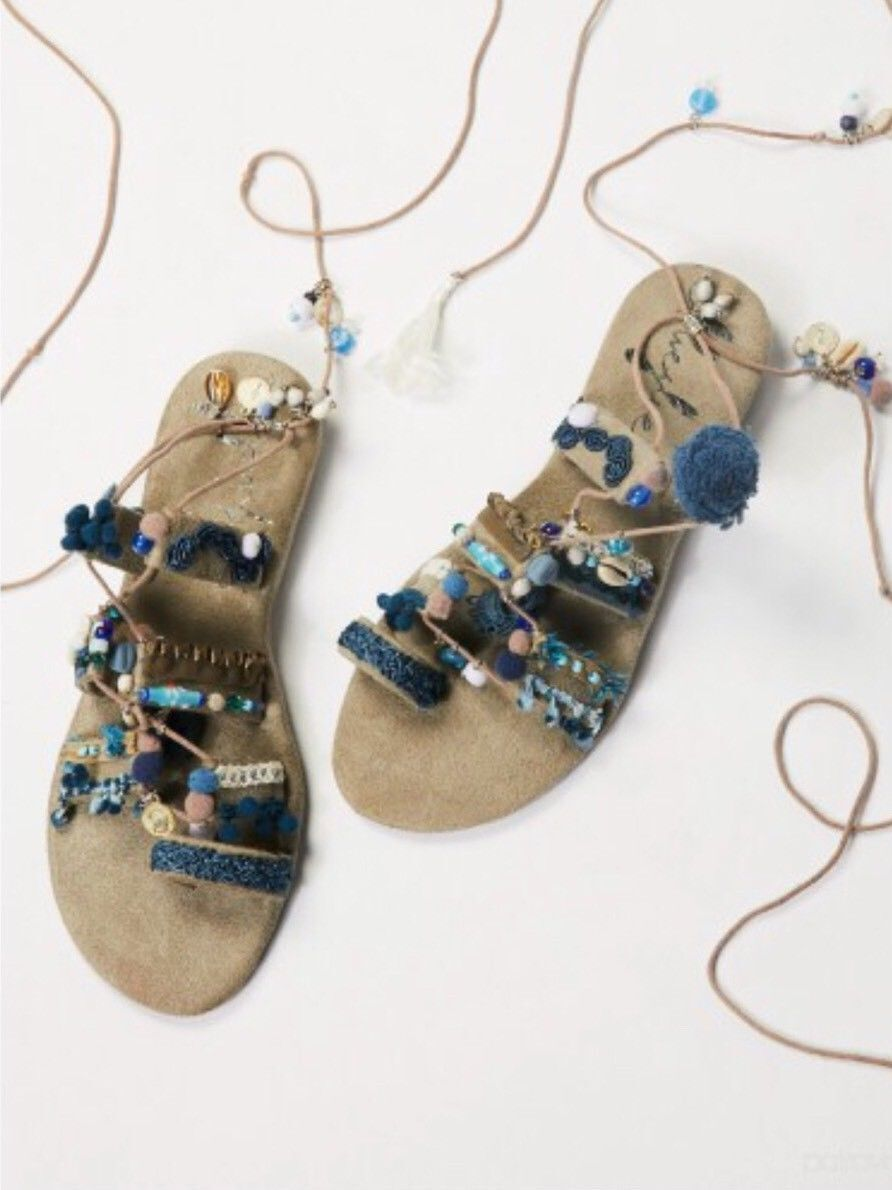 Thaikila Wos Zapatos Azul Pequeño gris Vegano Tobillo con con con Tiras Sandalia Corsico 4715  Venta barata