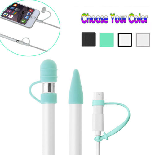 Pencil Cap Holder+Nib Cover+Lightning Cable Adapter Tether For Apple Pencil