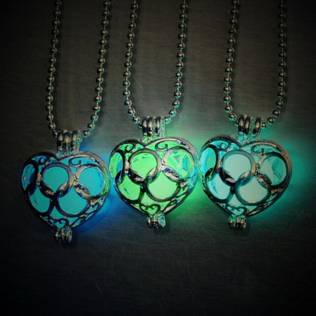 Lovely Magic Heart Locket Glow In The Dark Pendant Chain Necklace Women Gift
