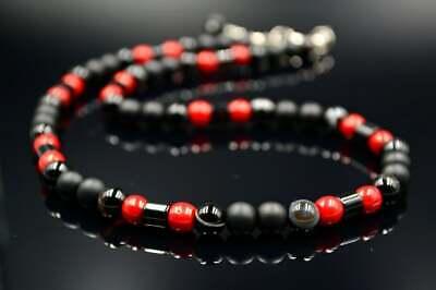 Ausdrucksvoll Herren Halskette Necklace Koralle Onyx Achat Geschenk Für Mann 46 Cm Ohne RüCkgabe