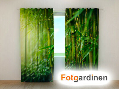 """Fotodruck Fotogardinen aus Chiffon /""""Bambus/"""" Vorhang mit Motiv auf Maß"""