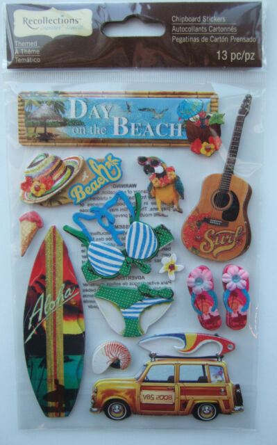 ~DAY ON THE BEACH~ Recollections CHIPBOARD Dimensional Stickers; Hawaii Vacation