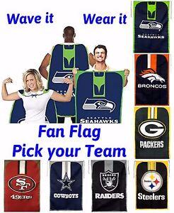 b6dc56205 Image is loading NFL-Team-Fan-Flag-Wave-it-Wear-it-
