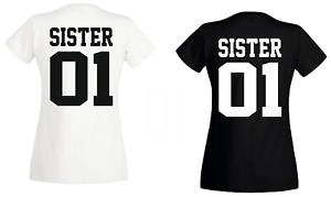 Pärchen Damen T Shirt  SISTER 01 GOLD Beste Freundinnen Schwester DOPPELPACK