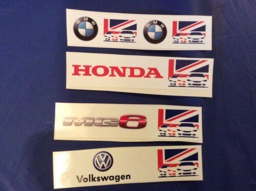 BTCC decals Honda, MG6, BMW & Volkswagon trackside 4x decals - Scalextric
