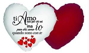 Dettagli Su Cuscino 40x40 Forma A Cuore Ti Amo Innamorati Love Idea Regalo San Valentino
