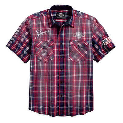 Harley-Davidson® HD Men's Classic Red Blue Plaid Short Sleeve Shirt 96171-16VM