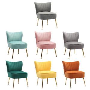 Modern Accent Armchair Scalloped Cushioned Single Sofa Matte Velvet Tub Chair UK