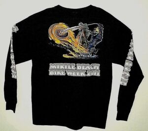 MYRTLE-BEACH-Bike-Week-NEW-2-Sided-Ghost-Rider-Image-LS-50-50-T-Shirt-Size-L