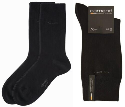 6 Paar SCHWARZ Baumwollsocken ohne Gummidruck Camano CA SOFT Socken