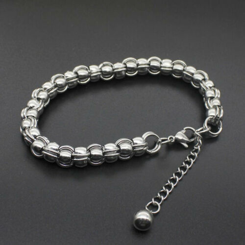 Silver Stainless Steel Chain Punk Cuff Bangle Bracelet Charm Unisex Men Jewelry