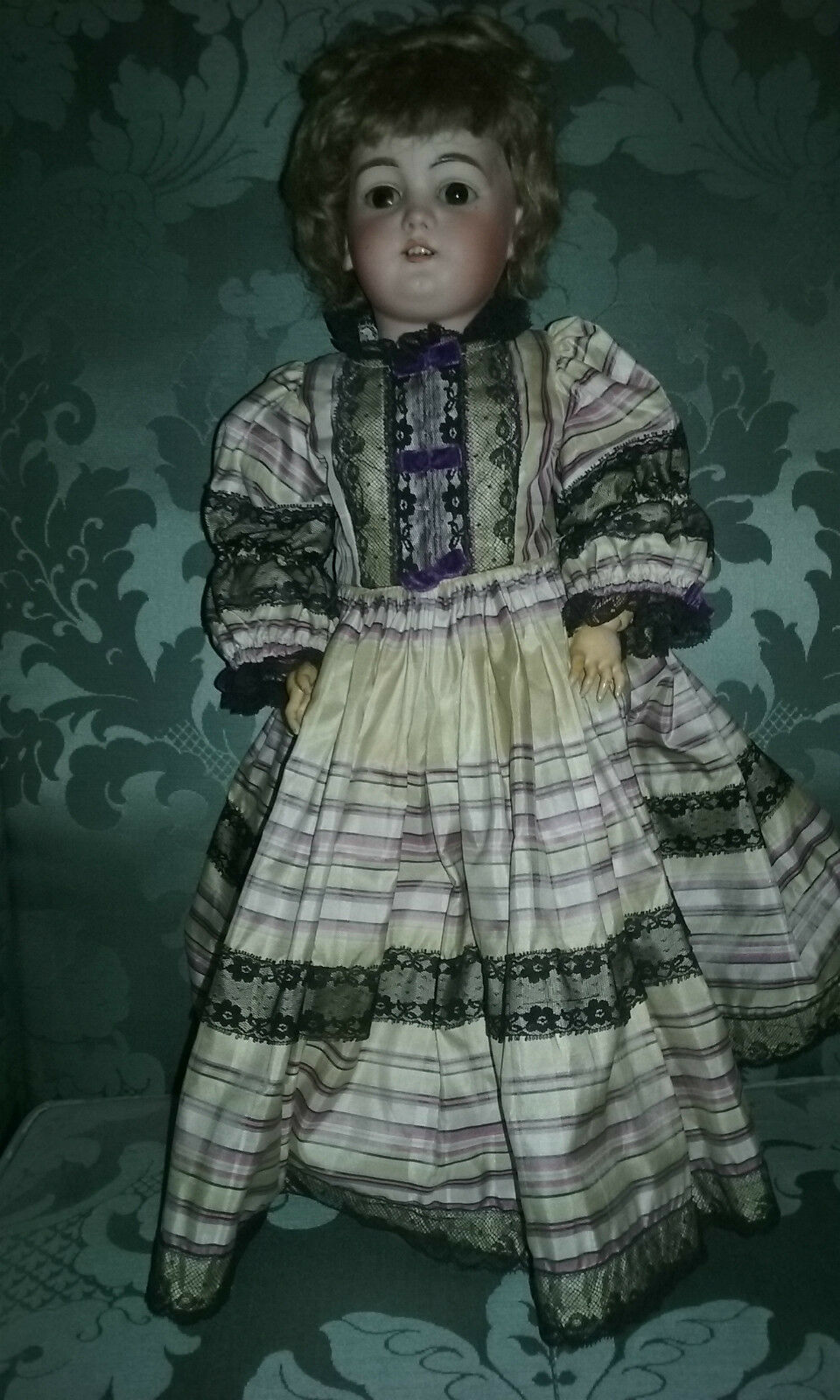 German bisque doll DEP 8 20   tall- Full outfit