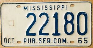 License-Plate-Mississippi-Public-Service-Commission-Government-Official-1965
