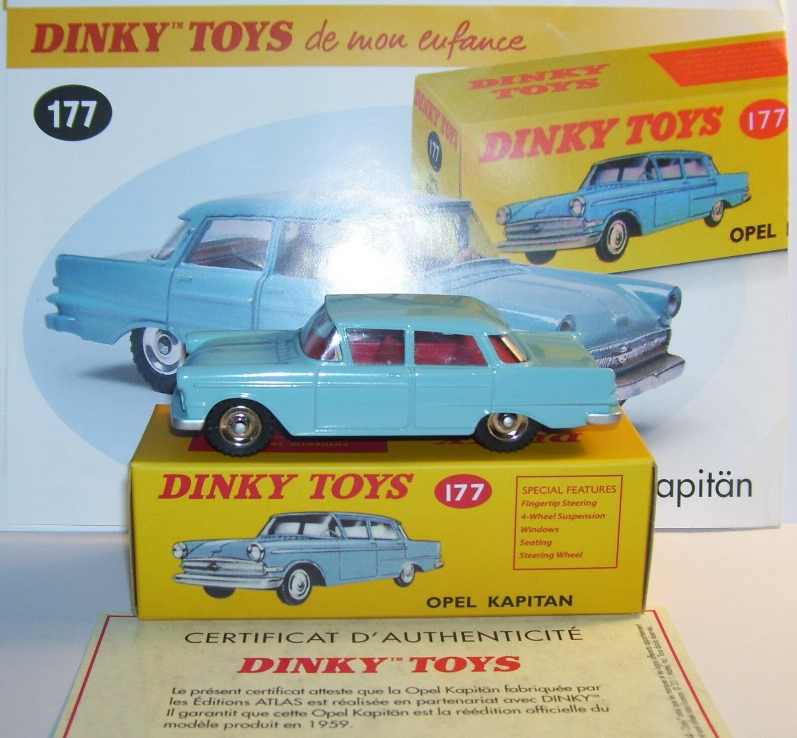 DINKY TOYS ATLAS OPEL KAPITAN LIGHT blueE 1 43 REF 177 IN BOX b