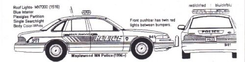 1//24th Scale Waterslide Decals Maplewood Mn Police 1//25th