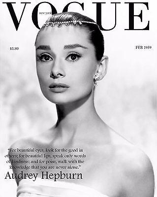 """/""""EYES/"""" A4,A3,A2,A1 Magazine Cover Poster AUDREY HEPBURN VOGUE Art Print"""