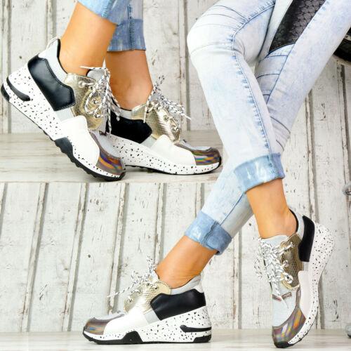 Neu Plateau Sneaker Lack Damen Schuhe Stiefeletten Metallic Style Glitzer Silber