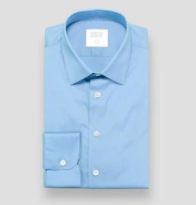 SMYTH & GIBSON bluee Slim Fit Luxury Stretch Poplin Shirt 16.5    42 RRP  £120.00