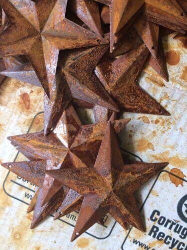"10 Ultra Rusty Barn Stars 3.75 in 3 3//4/"" Dimensional 2D w// hole Craft Supply"
