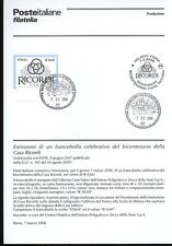 ITALY 2008 HOME RICORDI BULLETIN COMPLETE STAMPS CANCELLATION FDC