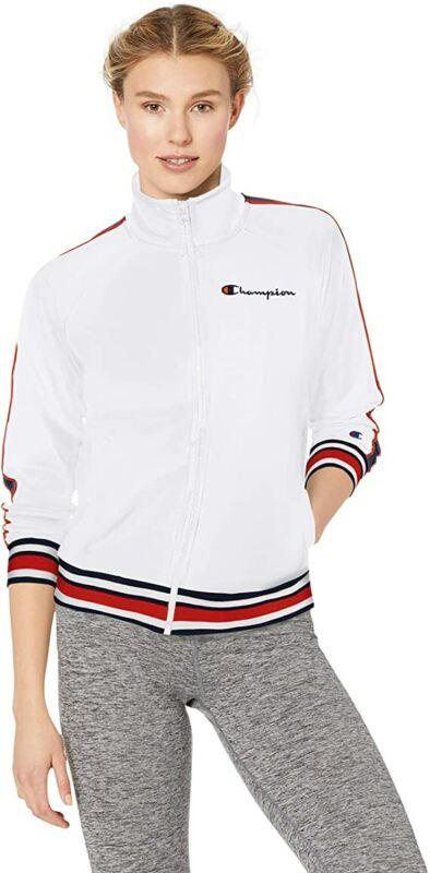Champion Women's Crop Track Jacket White Logo Champion Script Size S Brand New