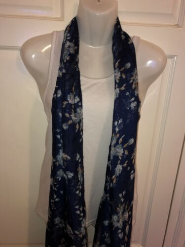 WOMEN NAVY SMALL FLOWERS PRINTED LONG FAHSION SCARF,SHAWL,SHOULDER WRAP,STOLE