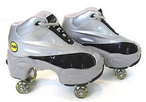 BUY-1-GET-2nd-50-OFF-Quad-KICK-ROLLER-Skates-retractable-WALKnROLL-BN-silv-grey