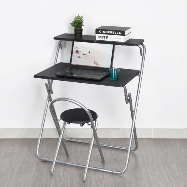 Space Saving Fold Away Computer Pc Desk Laptop Table Chair Set Home Office
