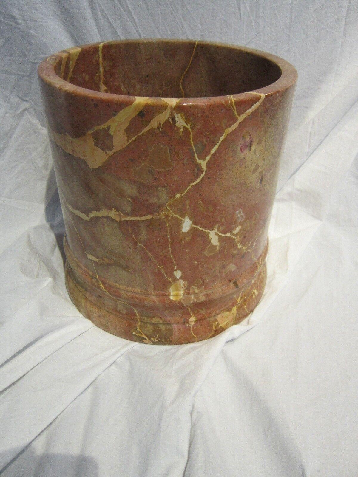 Frontgate Marble Round Bathroom Wastebasket Peachy with Gorgeous Veining EUC