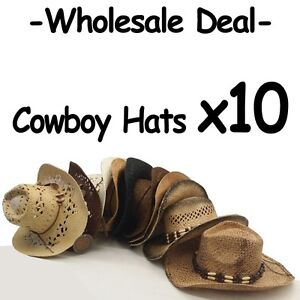 WHOLESALE LOT OF 10 Assorted Variety Cowboy Hats with real straw ... ccabea90fc47