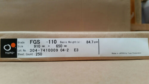 Yupo FGS 110 85 GSM 110 micron Synthetic Paper 20 sheets 910mmx650mm
