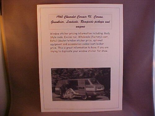 1961 Chevrolet Corvair truck factory cost//dealer sticker prices for base+options