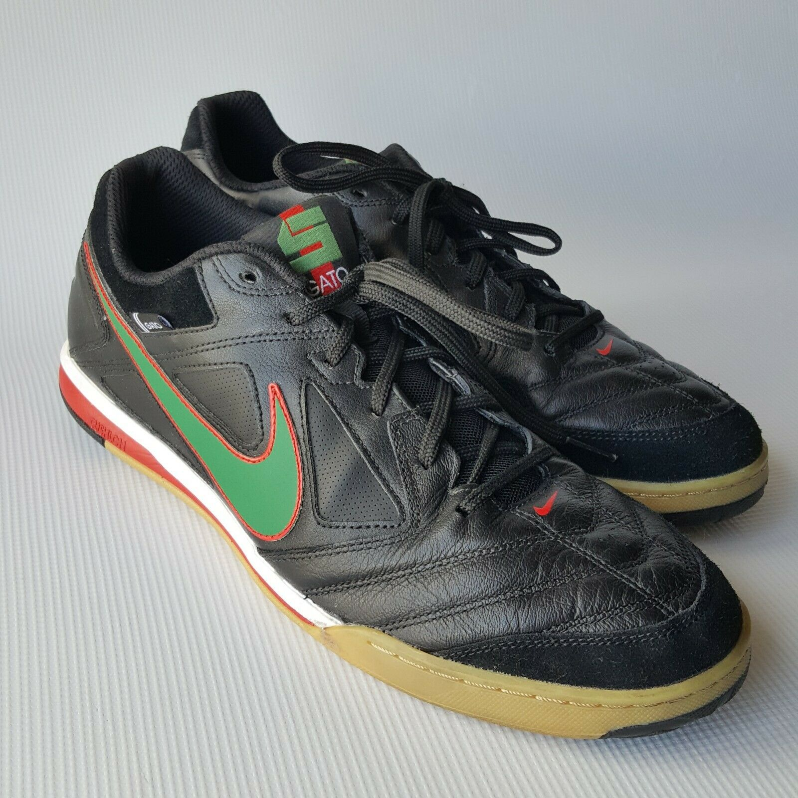 Nike 5 Men's Gato 415123-030 Indoor Soccer shoes Black Green  Red  Swoosh Sz.13