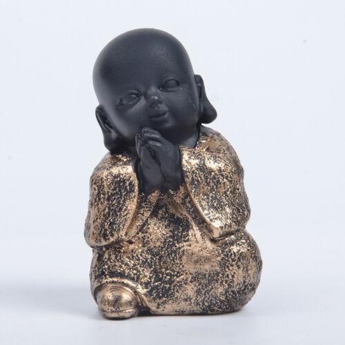 Resin Monks Kids Models Figurine Sitting Monk Statues Car Ornaments Golden