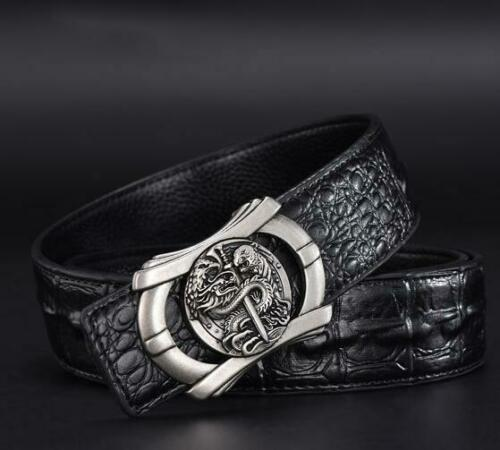 High Quality Men/'s 3D Dragon Design Buckle Crocodile Genuine Leather Belt Cool