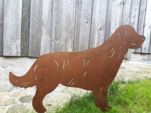 Hund in Edelrost Optik Garten Terrasse Beet Bauernhof Skulptur Figur Gartenstab