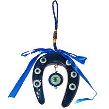 EVIL EYE BLUE Horse Shoe Hanging With DRAGON EYE FOR PROTECTION :: Najar Raksha