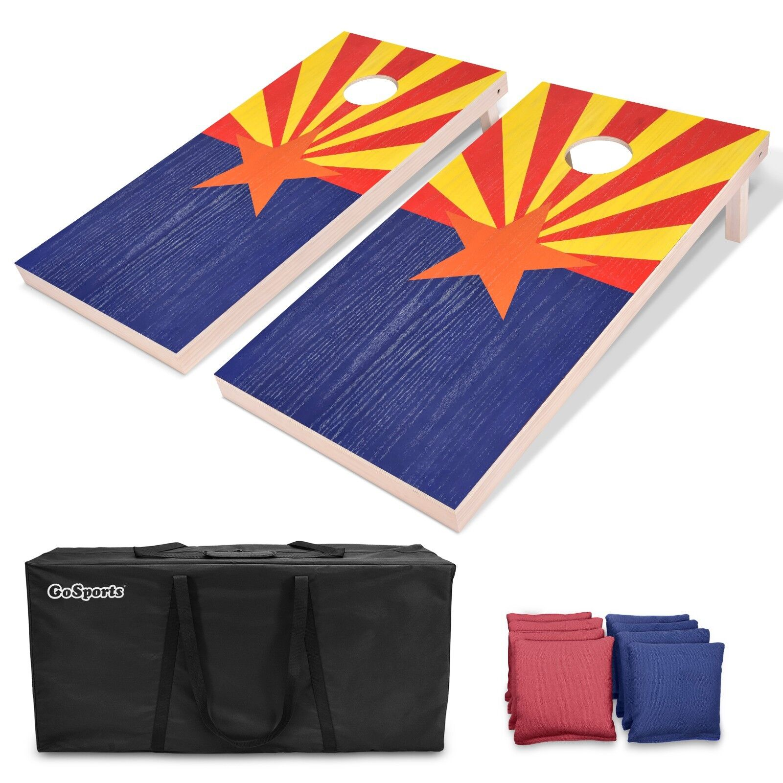 GoSports Arizona State Flag Regulation 4'x2' Solid Wood Cornhole Boards Set