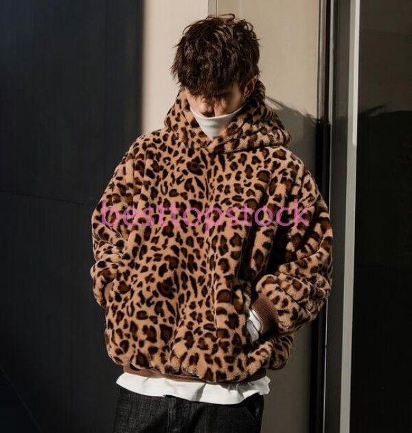 Men hooded fur Coat Overcoat korean furry loose fit hoodie outwear leopard print