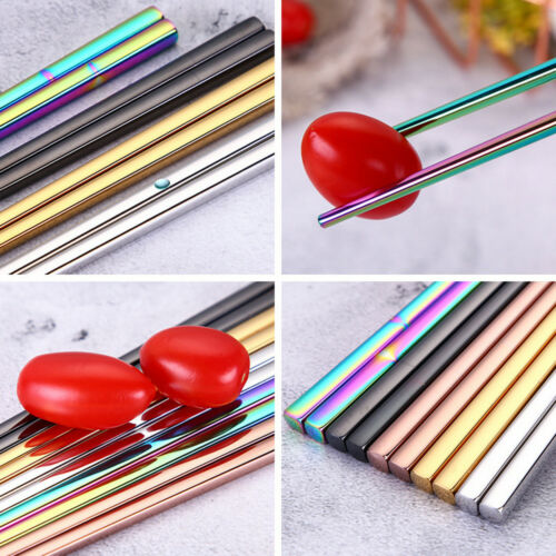 1 Pair Colorful Reusable Chopsticks Metal Chinese Stainless Steel Luxury Great