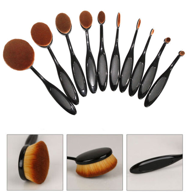 10pcs Beauty Shaped Makeup Foundation Power Toothbrush Cream Puff Brushes
