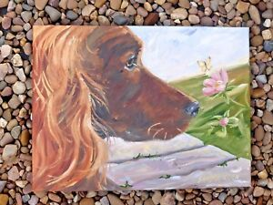 IRISH-SETTER-DOG-NEW-ORIGINAL-OIL-PAINTING-SANDRA-COEN-ARTIST-ENGLAND