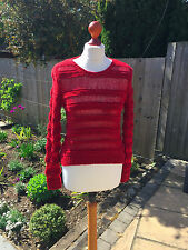 MAJE ladies red loose knit jumper size 1 - UK 8 - 10